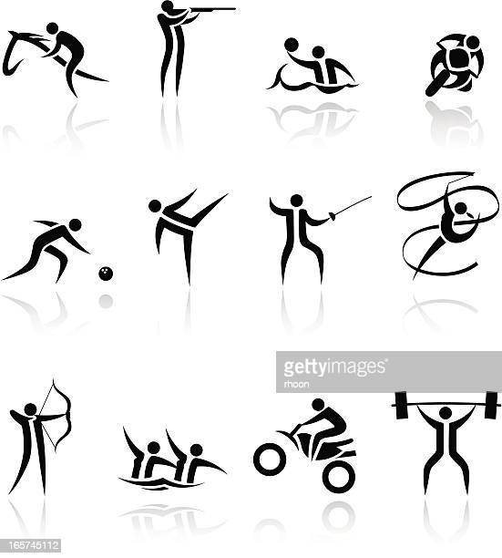 sports icons set - ribbon routine rhythmic gymnastics stock illustrations