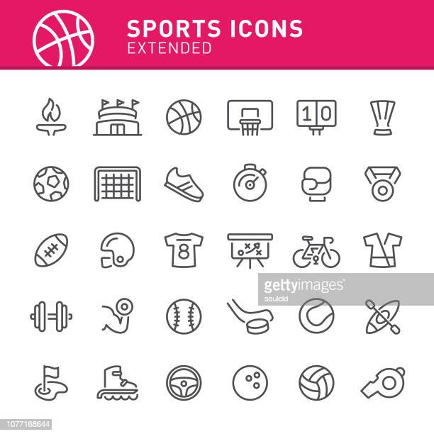 illustrazioni stock, clip art, cartoni animati e icone di tendenza di sports icons - calcio sport