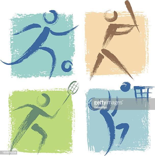 ilustrações, clipart, desenhos animados e ícones de ícones de esportes - individual event
