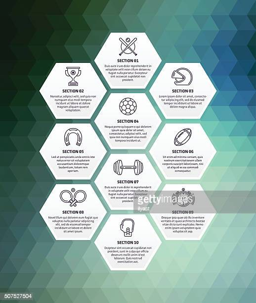 stockillustraties, clipart, cartoons en iconen met sports infographic abstract background - sporting term