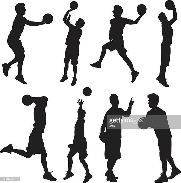 Sports man in various action with basketball