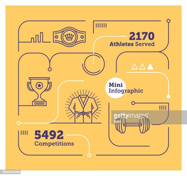 ilustrações de stock, clip art, desenhos animados e ícones de sports mini infographic - judo