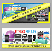 Sports nutrition horizontal banner set