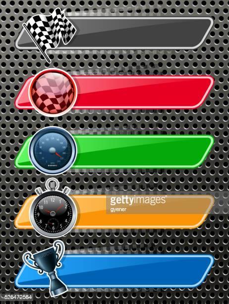 ilustrações, clipart, desenhos animados e ícones de corrida desportiva banners - esporte motorizado
