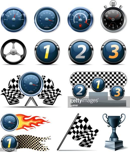 sports race symbols - odometer stock illustrations, clip art, cartoons, & icons