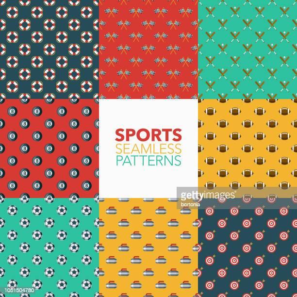 sports seamless pattern set - baseball sport stock illustrations