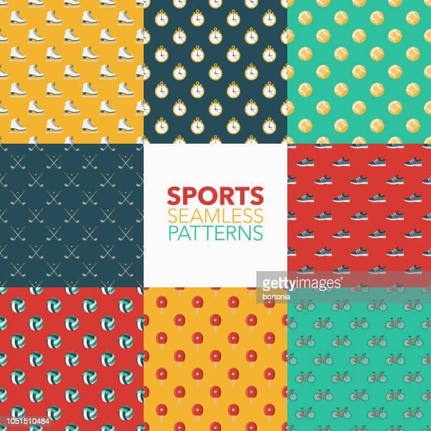 ilustraciones, imágenes clip art, dibujos animados e iconos de stock de conjunto de patrones sin fisuras de deportes - tenis de mesa