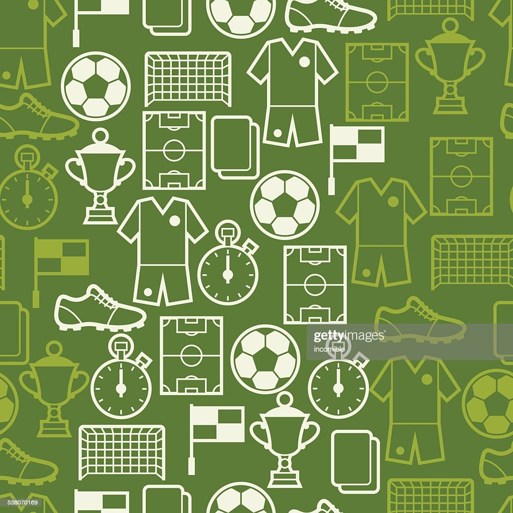 Sports seamless pattern with soccer symbols
