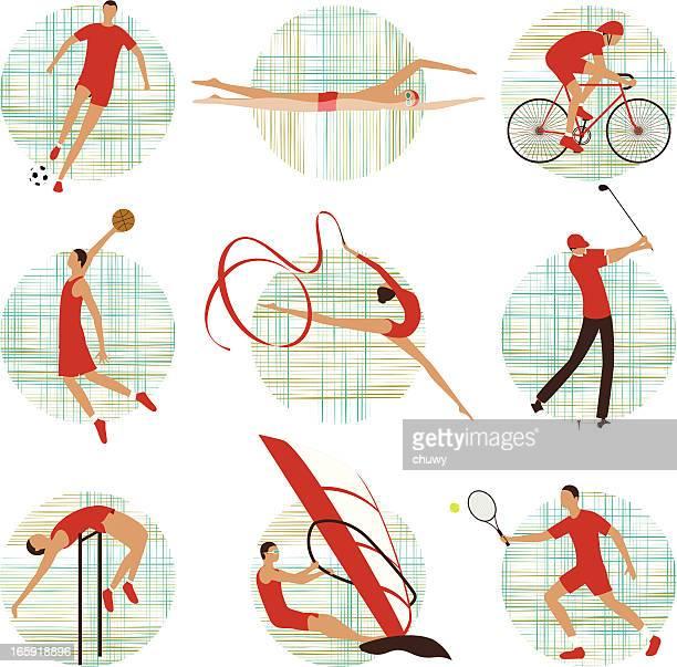 sports set - high jump stock illustrations