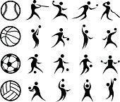 Sports Silhouette, Basketball, Baseball, Soccer, Volleyball