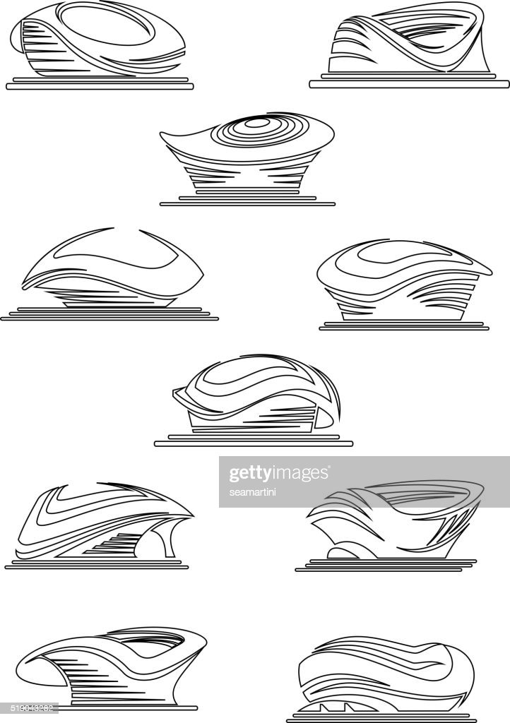 Sports stadium and arena thin line icons