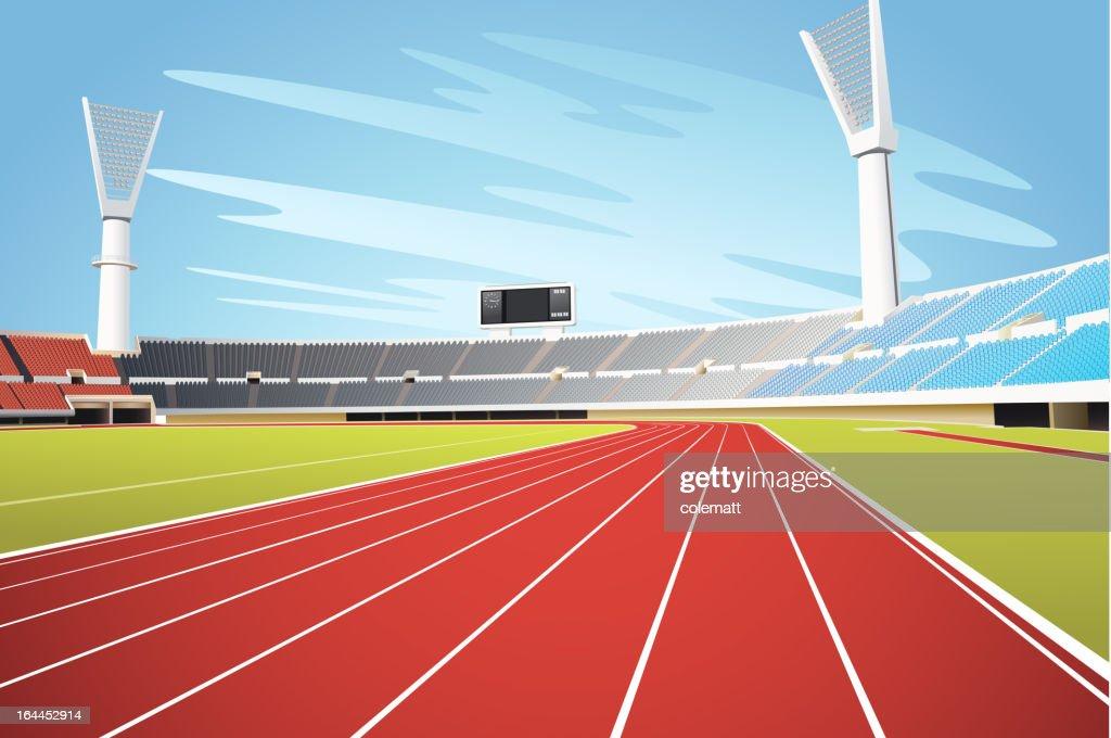 Sports stadium and running track