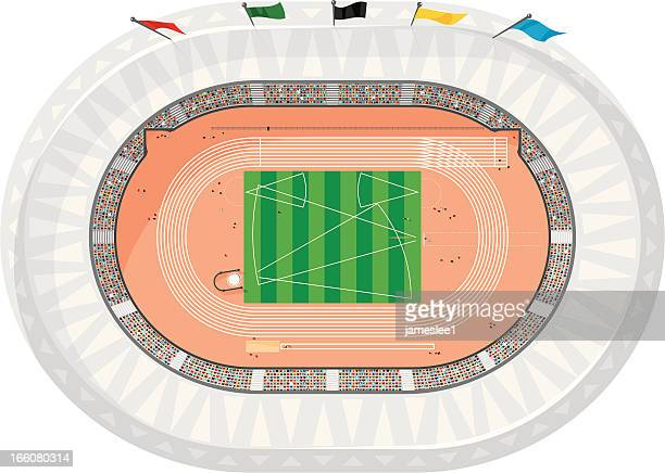 sports stadium isolated - running track stock illustrations, clip art, cartoons, & icons