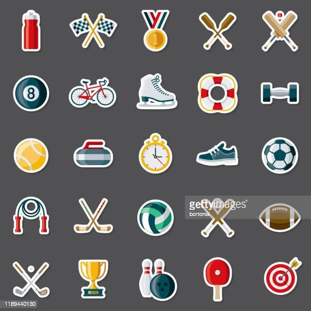 ilustraciones, imágenes clip art, dibujos animados e iconos de stock de conjunto de pegatinas deportivas - rondas deportivas