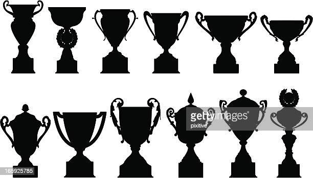 sports trophies silhouettes - trophy stock illustrations