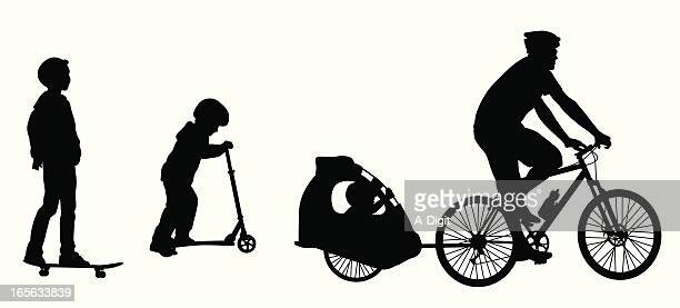 sports wheels vector silhouette - family cycling stock illustrations, clip art, cartoons, & icons