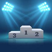 Sports winner empty podium illuminated by searchlights vector illustration