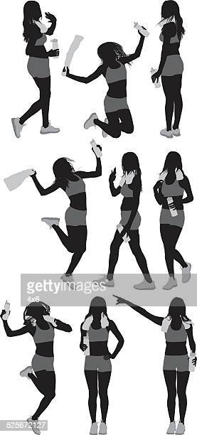 Sports woman in various actions