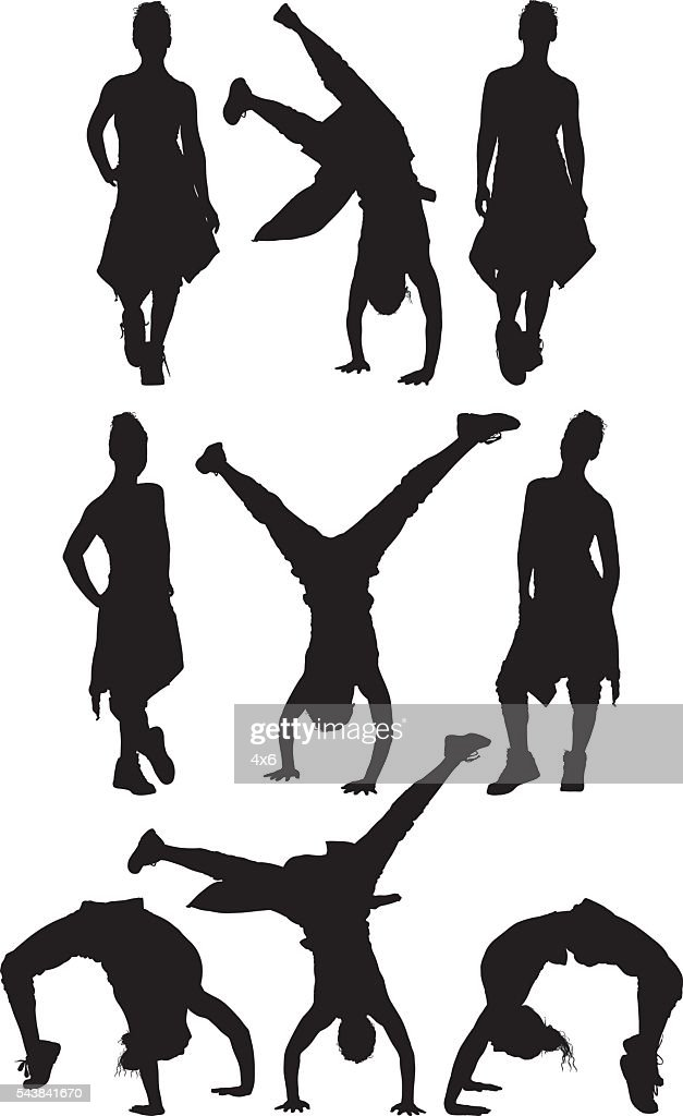 Sports woman in various actions : stock illustration