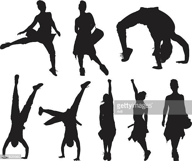 sports woman in various actions - updo stock illustrations, clip art, cartoons, & icons