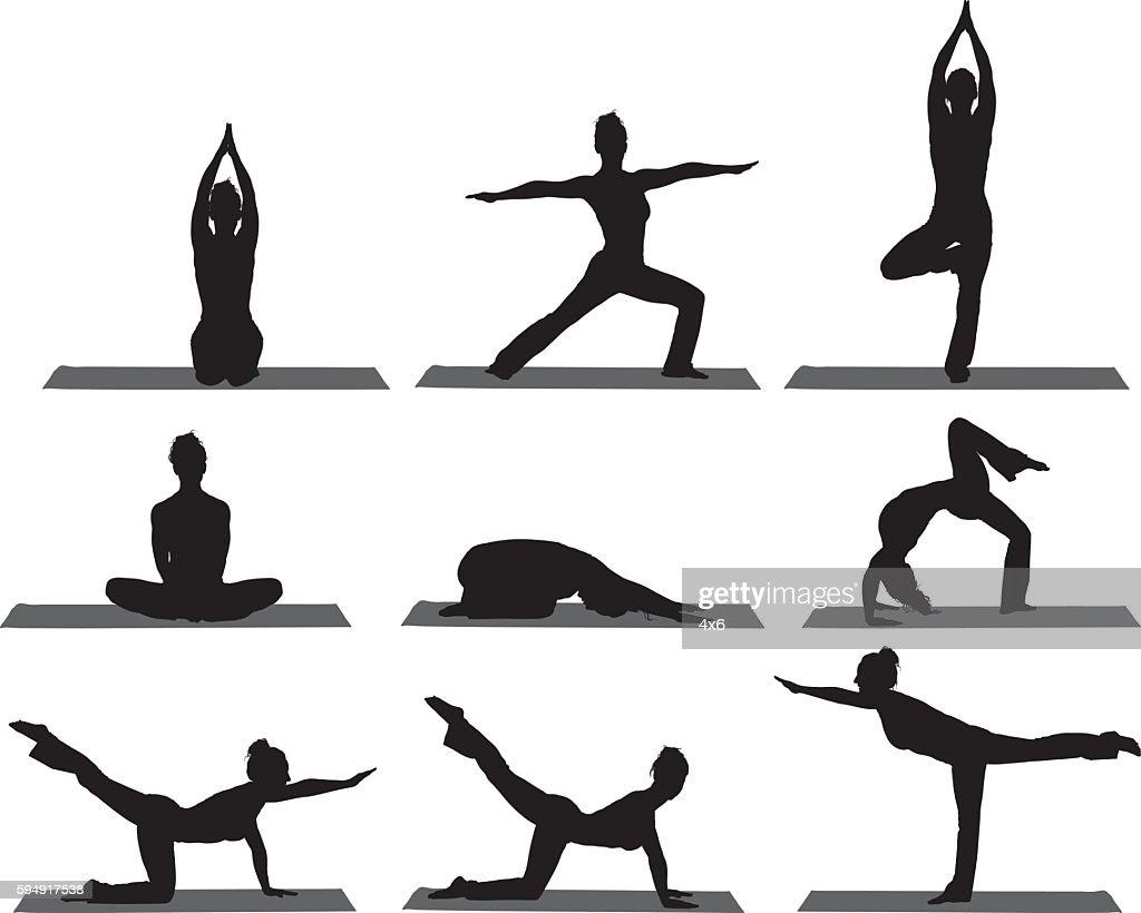 Sports women doing yoga : stock illustration