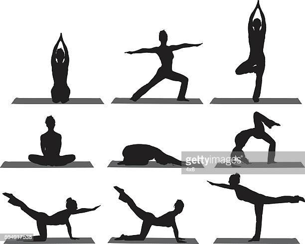 Sports women doing yoga