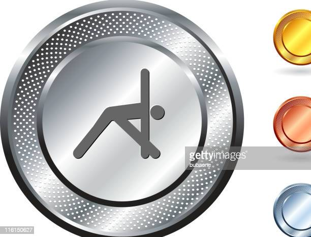 sports, yoga royalty free vector art on metallic button - touching toes stock illustrations, clip art, cartoons, & icons