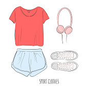 Sportswear outfit. Vector hand-drawn sketch with sport clothes: t-shirt, shorts, shoes and earphones, Flatlay  art.