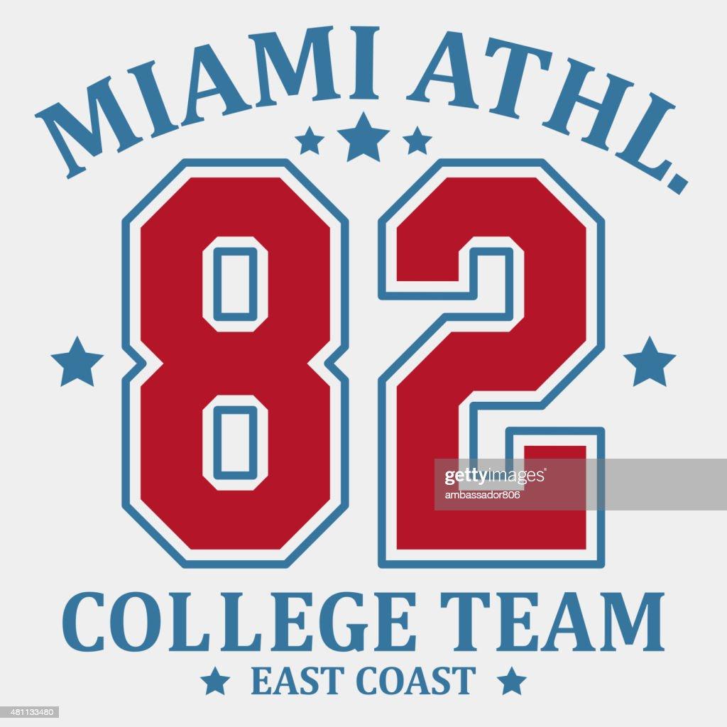 Sportswear, Team Emblem Athletic College Typography. T-shirt gra