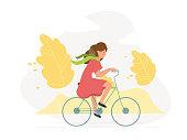 Sporty girl on bike - vector illustration