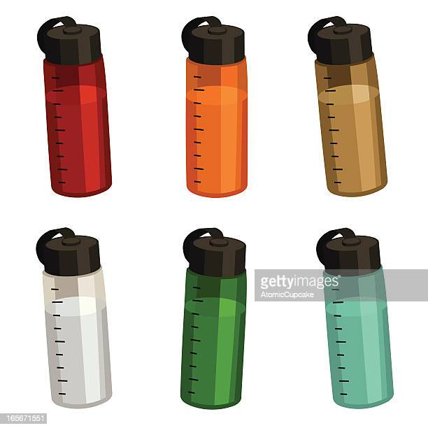 sporty water bottles - water bottle stock illustrations, clip art, cartoons, & icons