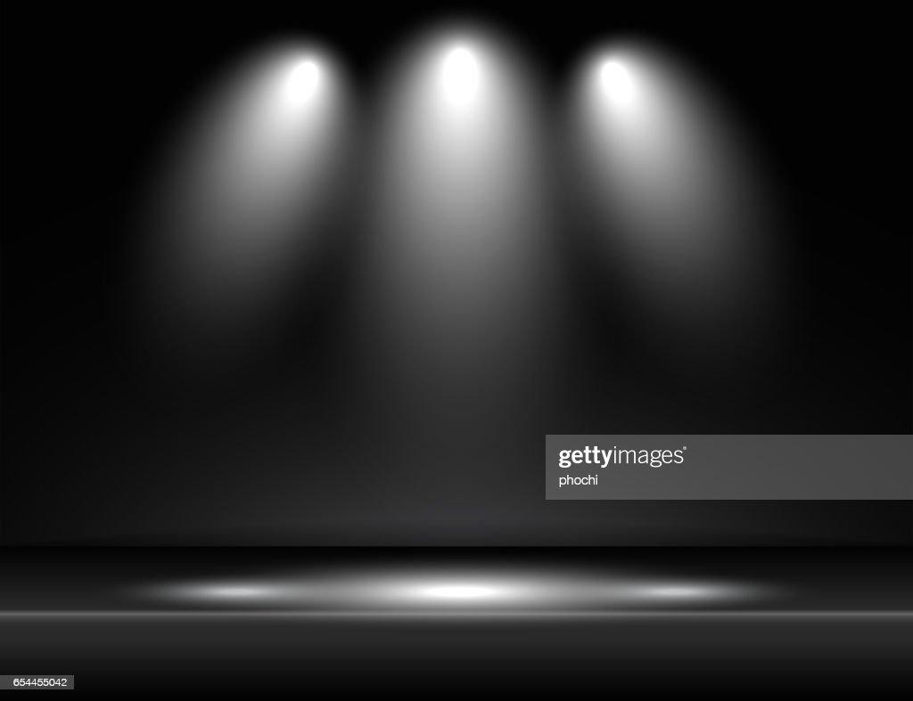 Spotlight black light rays room studio background vector