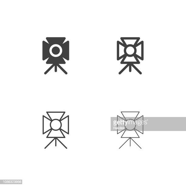 spotlight icons - multi series - flashlight beam stock illustrations, clip art, cartoons, & icons