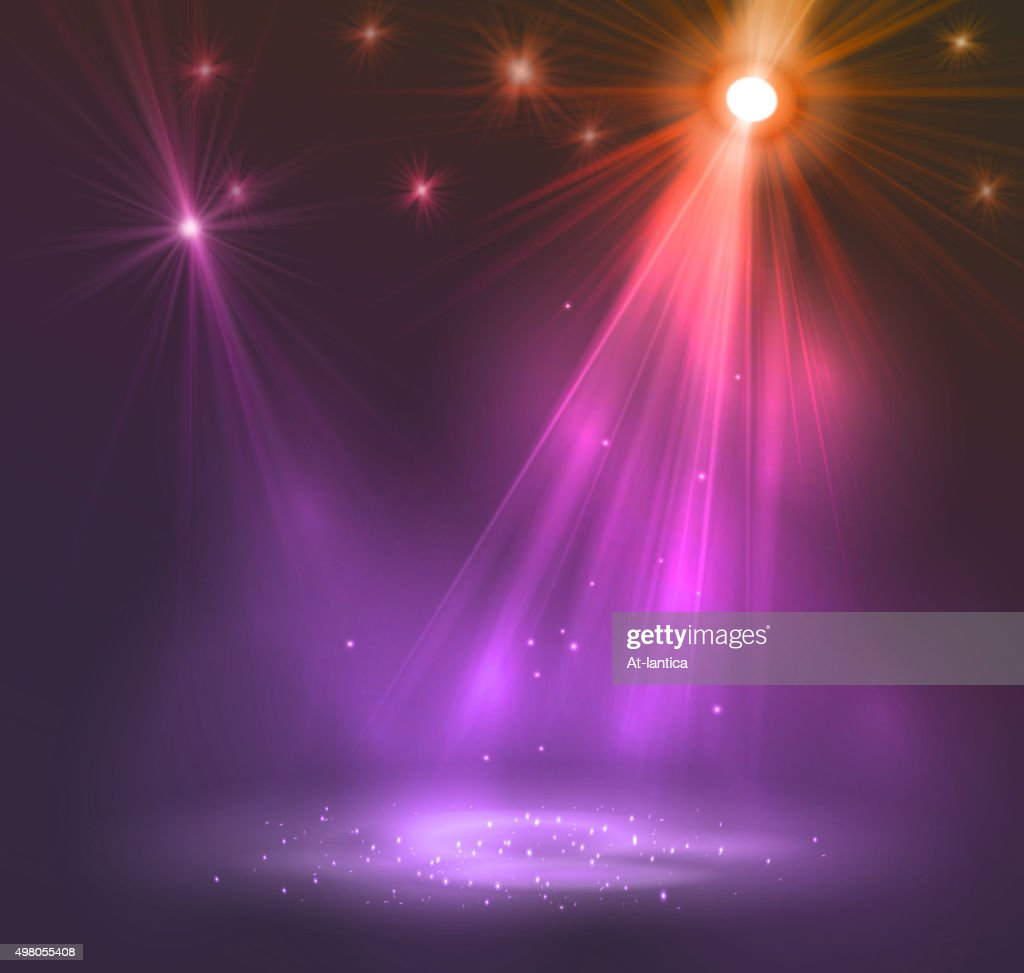 Spotlight on stage with smoke and   light
