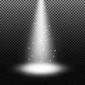 Spotlight shining with sprinkles on transparent background