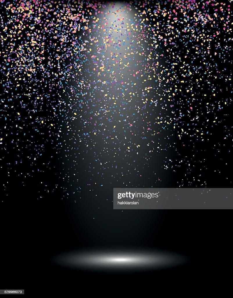 Spotlight with confetti explosion, celebration background