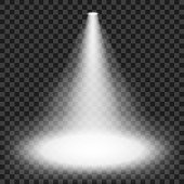 Spotlights shining on transparent background