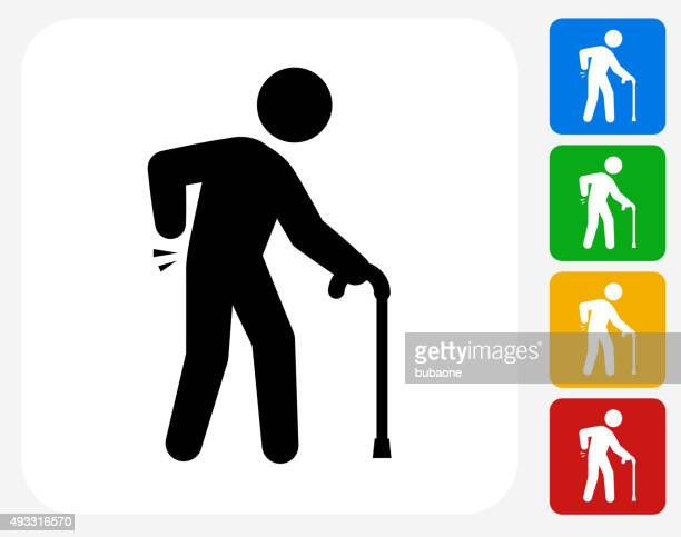 sprained elderly man icon flat graphic design - senior adult stock illustrations, clip art, cartoons, & icons