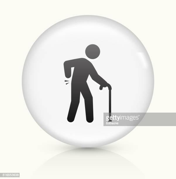 Sprained Elderly Man icon on white round vector button