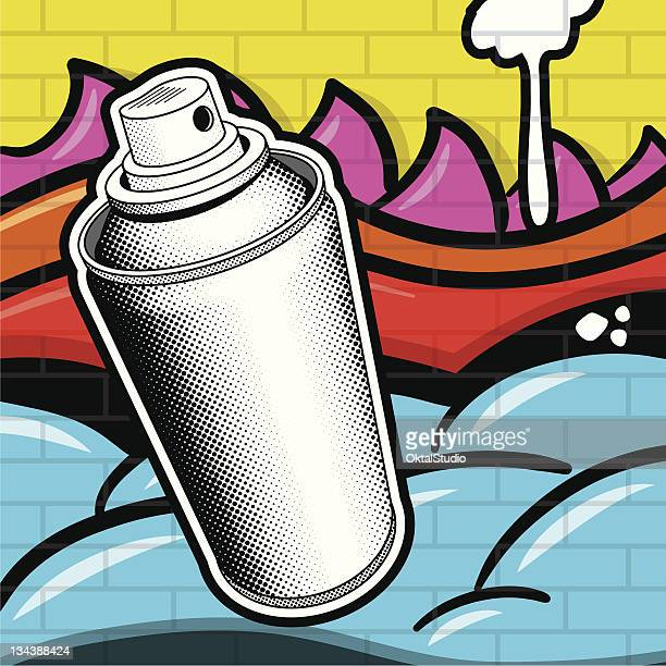 spray can and grafitti - can stock illustrations