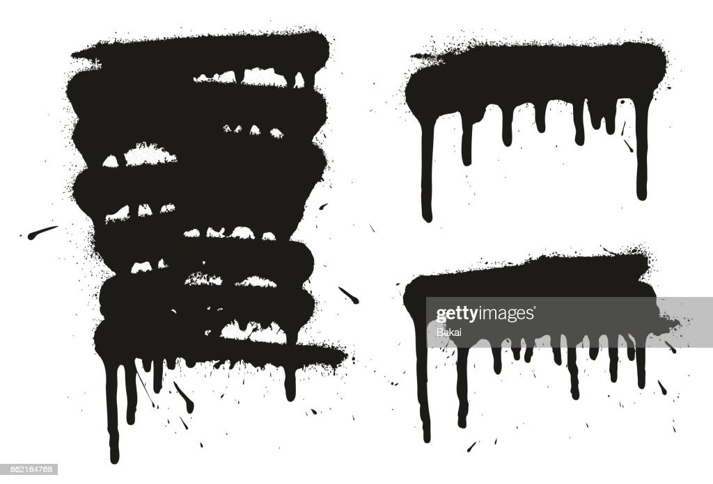 Spray Paint Abstract Vector Backgrounds, Lines & Drips Set 01