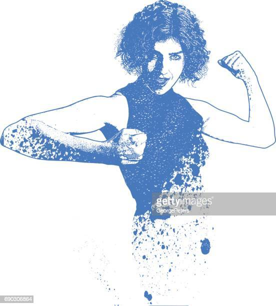 spray paint, graffiti illustration of a strong and confident woman, flexing muscles - body conscious stock illustrations, clip art, cartoons, & icons