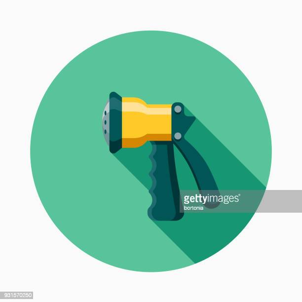 sprayer flat design gardening icon with side shadow - handle stock illustrations, clip art, cartoons, & icons