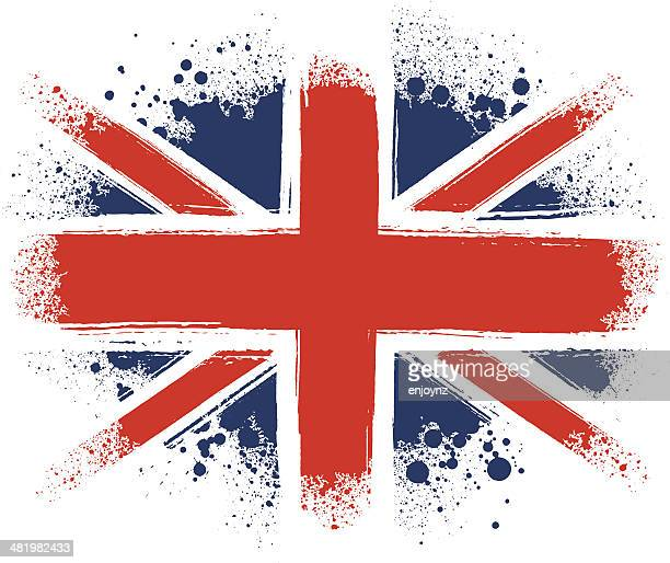 spraypainted union jack - british culture stock illustrations