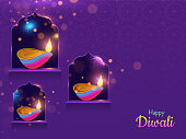 Spread lighting in corner with oil lamp (diya) on purple background for Happy Diwali purple card or poster design.