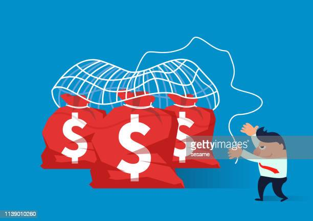 spread the net, the merchant uses the fishing net to catch the money bag - conspiracy stock illustrations, clip art, cartoons, & icons