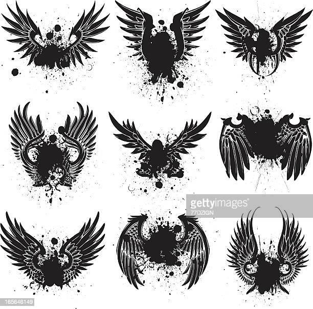ilustraciones, imágenes clip art, dibujos animados e iconos de stock de esparcir ala salpicado - alas de angel