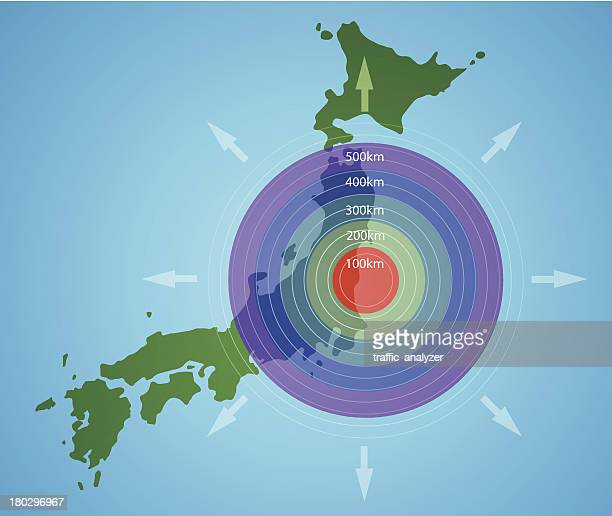 Spreading of radioactive waste from Fukushima, Japan
