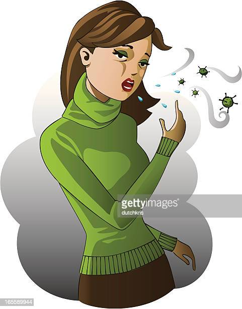 spreading the flu virus - cardigan sweater stock illustrations, clip art, cartoons, & icons