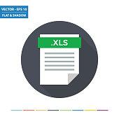 XLS spreadsheet document file format flat icon